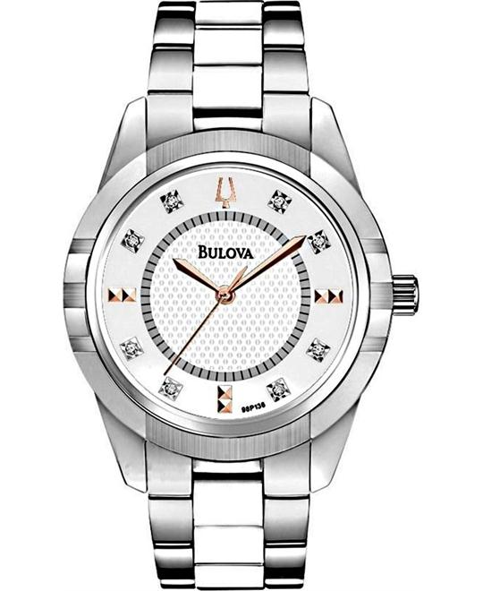 BULOVA White Ceramic Diamond Ladies Watch 32mm