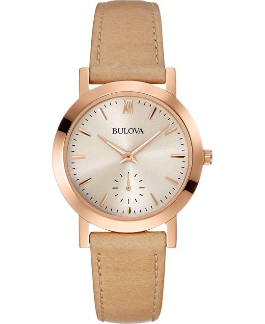 Bulova Women's Beige Leather Strap Watch 32mm