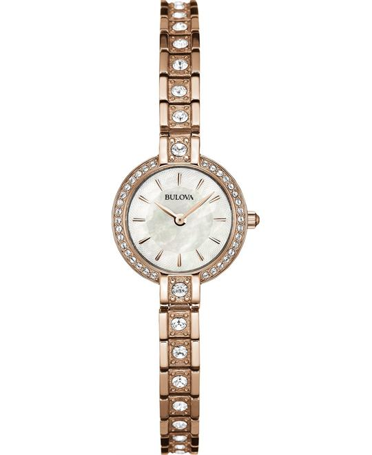 Bulova Women's Crystal Accent Rose Gold Watch 21mm