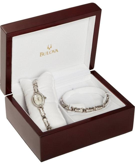 Bulova Women's Crystal Bracelet Watch Gift Set 17mm