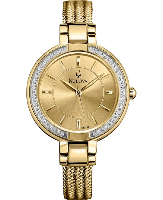 Bulova Diamond Accent Gold-Tone Watch 32mm