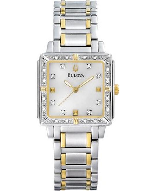 Bulova Women's Diamond  Stainless Steel Bracelet Watch 25mm