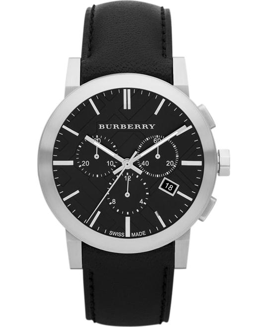 Burberry Chronograph Black Dial Black Leather Men's Watch 42mm