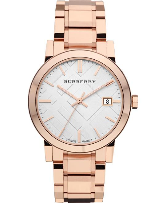 Burberry The City Unisex Large Check Rose Gold Watch 38mm