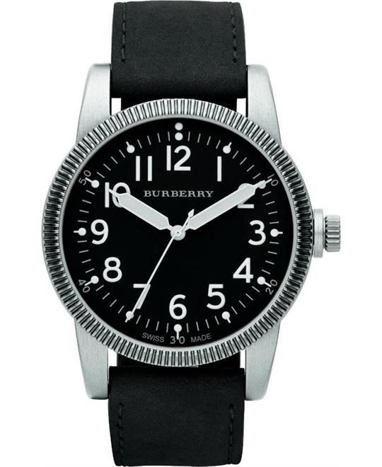 Burberry Men's Military Black Dial luminous Hands Watch 44mm