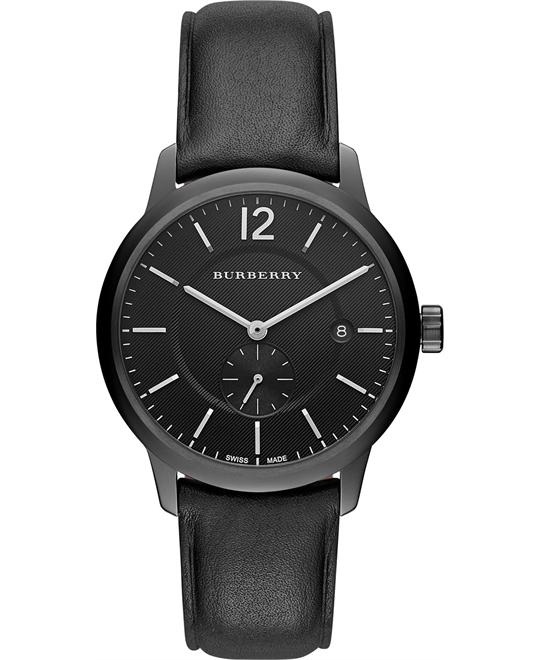 Burberry Men's Swiss Black Leather Strap Watch 40mm