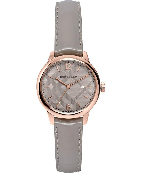 Burberry Round Gray Leather Strap Timepiece 32mm