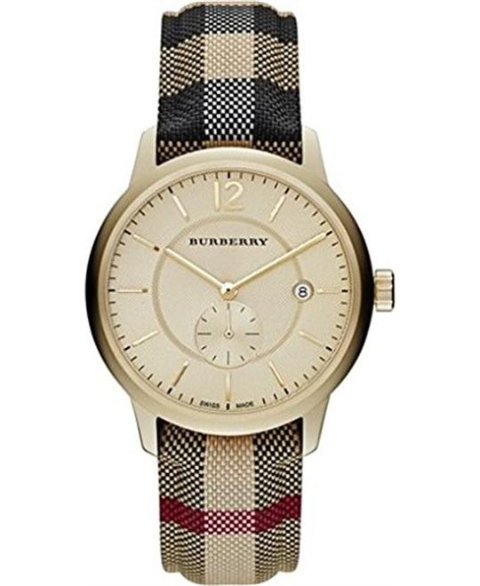 Burberry Swiss Honey Check Fabric Strap Unisex Watch 40mm
