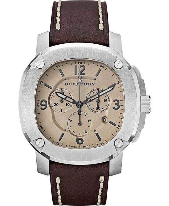 Burberry The Britain Men's Swiss Leather Strap Watch 47mm