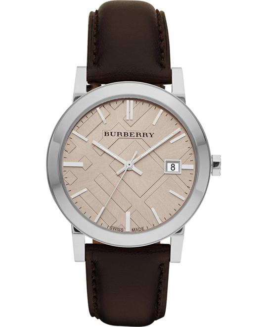 Burberry The City Brown Leather Mens Watch 38mm