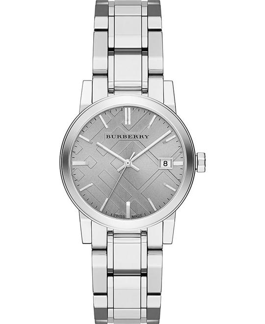 Burberry The City Grey Dial Stainless Steel Ladies Watch 34mm