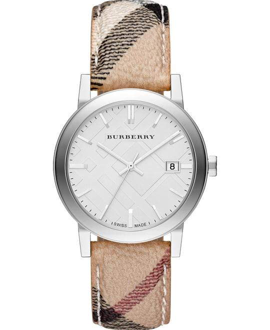 Burberry The City Ladies Check Fabric Band Watch 38mm