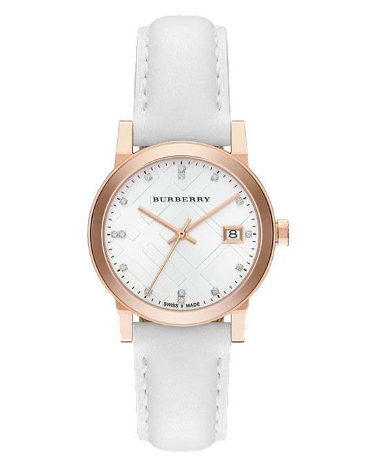 Burberry The City Leather Diamond Ladies Watch 34mm