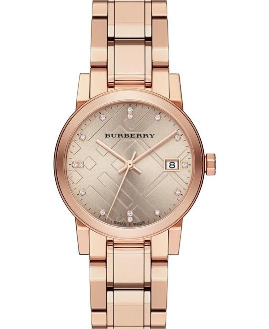 Burberry The City Rose Gold Diamond Ladies Watch 34mm