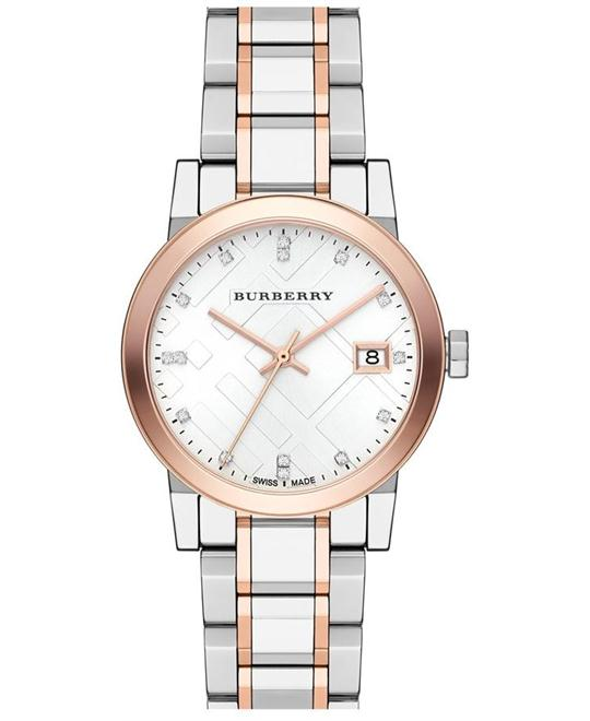 BURBERRY The City Silver Dial Two-tone Ladies Watch BU9127, 34mm