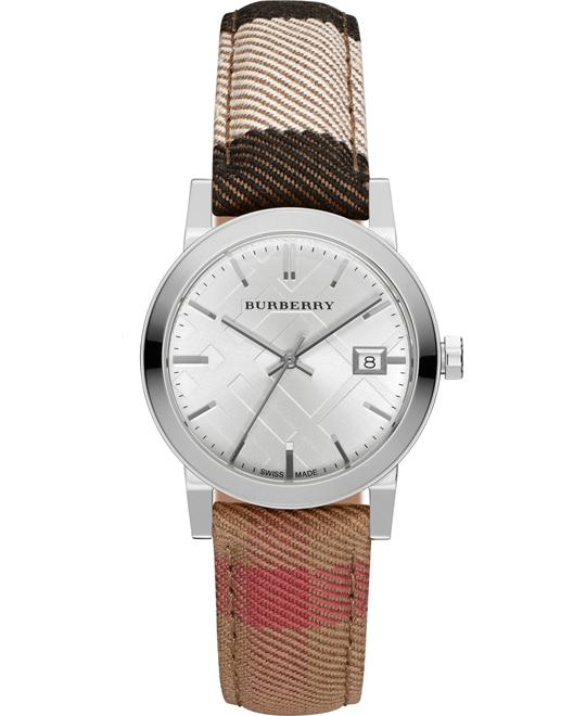 Burberry Classic Round Silver Leather Watch 34MM