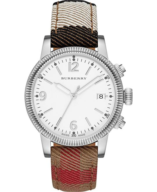 Burberry The Utilitarian Women's Swiss Fabric Leather Strap 38mm