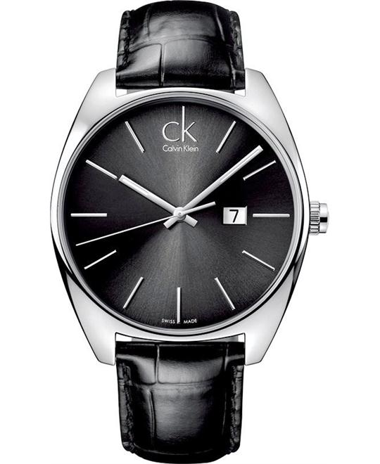Calvin Klein Men's Swiss Black Leather Watch 44mm