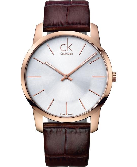 Calvin Klein Men's Swiss Leather Strap 43mm