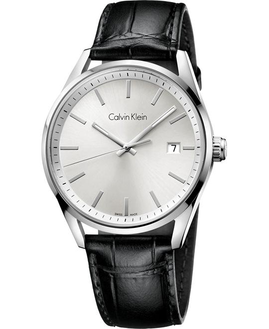 Calvin Klein Men's Swiss Leather Strap 44mm