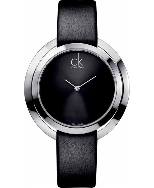 Calvin Klein Skirt Women's Black Leather Band Watch 42mm