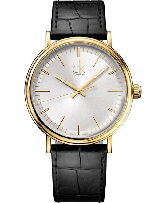 CALVIN KLEIN Surround Black Leather Swiss Quartz, 41mm