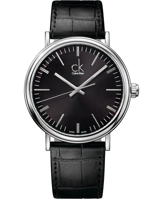 CALVIN KLEIN Surround Black Leather Swiss Quartz 41mm