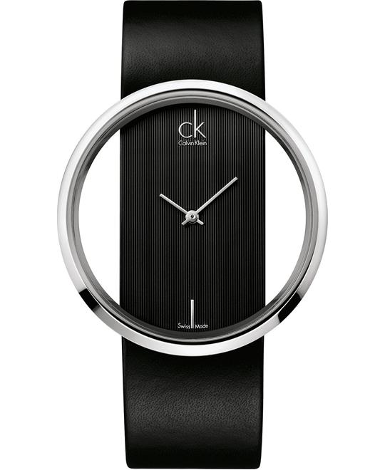 Calvin Klein Women's Swiss Black Leather 42mm