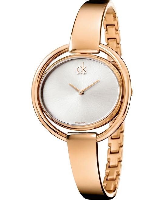 Calvin Klein Women's Swiss Rose Gold Bracelet 40mm