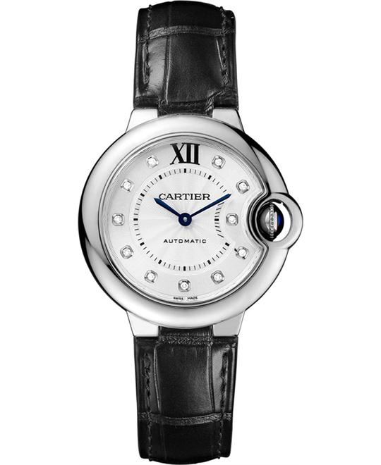 CARTIER W4BB0009 Ballon Auto Diamond Watch 33mm