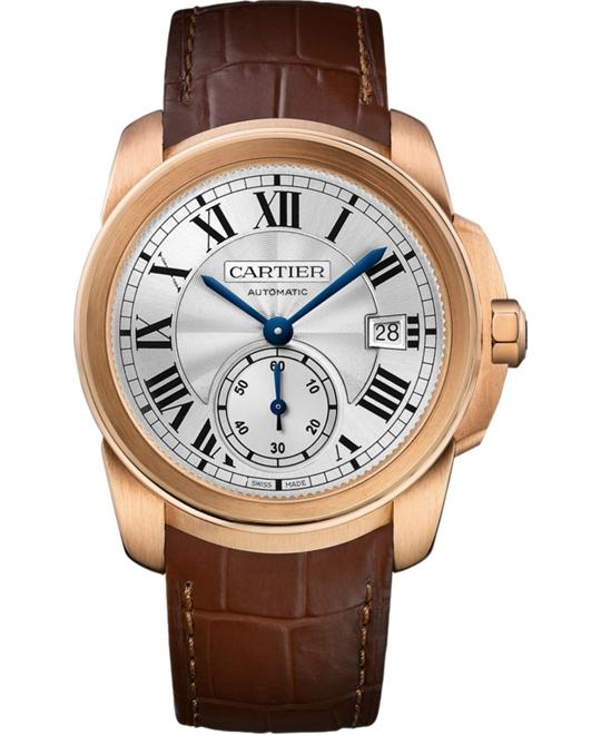 CARTIER WGCA0003 Caliber Silver Dial 18k Pink Gold 38mm