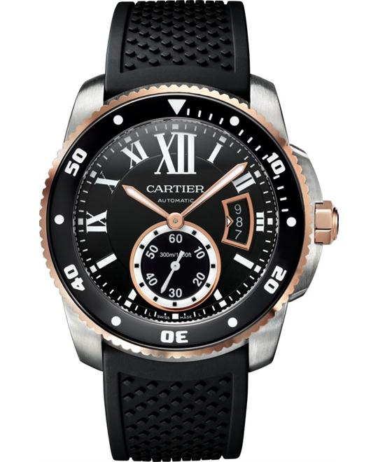 CARTIER W7100055 Calibre de Black Rubber Watch 42mm