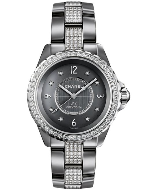 Chanel h3106 Unisex Ceramic Grey Sapphire Solid Fixed 38mm