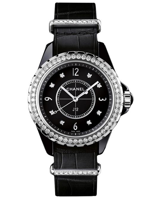 Chanel h4189 Unisex Ceramic Leather Black 33mm
