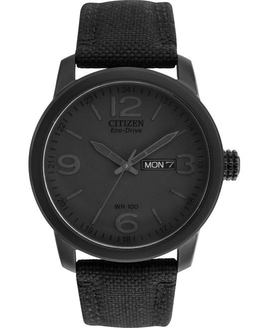Citizen Canvas Strap Eco-Drive Men's Black Watch 42mm
