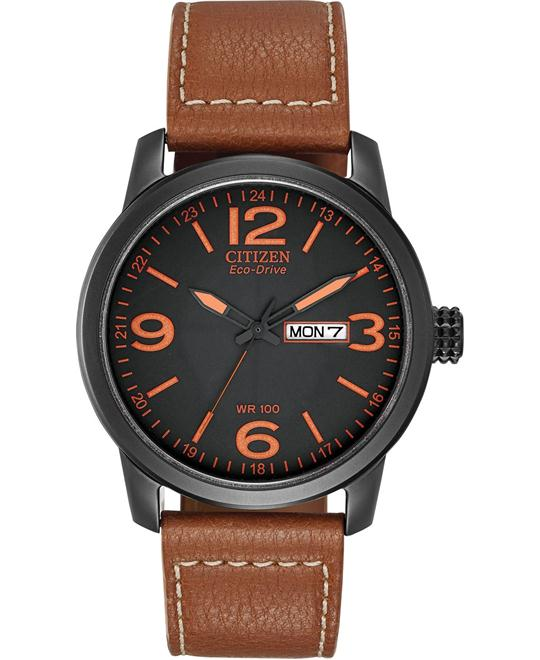 "Citizen Men's ""Eco-Drive"" Synthetic Leather Watch, 42mm"