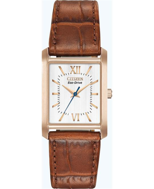 Citizen Women's Eco-Drive Brown Leather Watch, 25mm