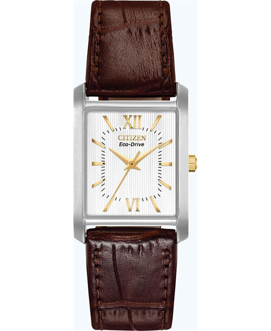 Citizen Eco-Drive Brown Leather Watch 26mm