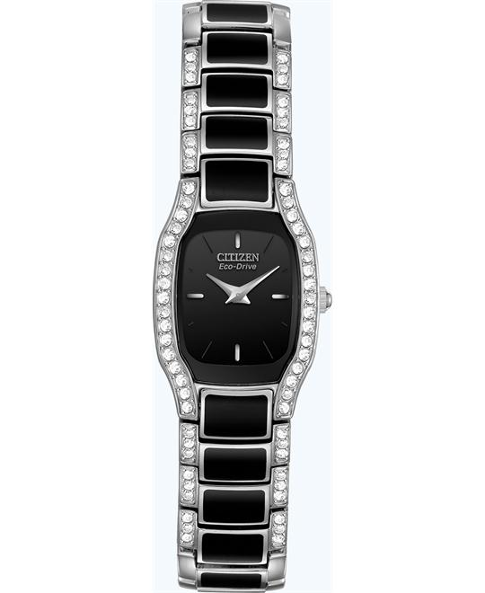 CITIZEN Normandie Black Crystal Ladies Watch 20x18mm