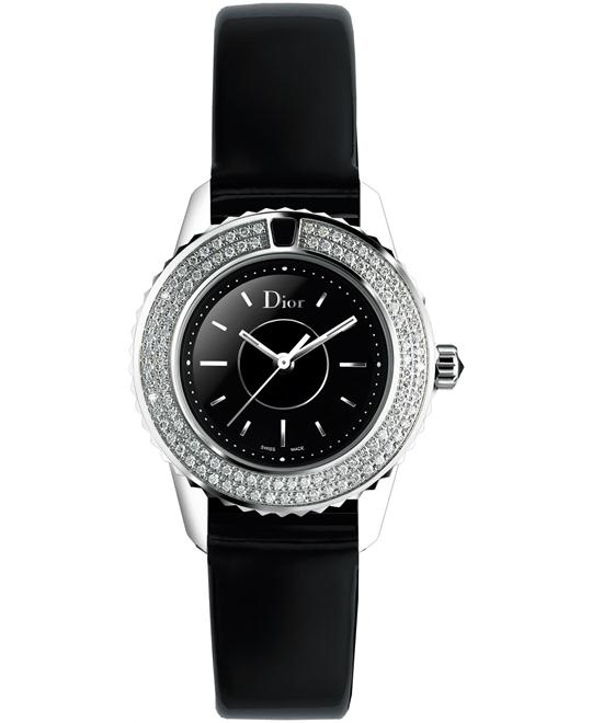 Dior Christal CD112119A001 Diamond Ladies Leather Watch 28mm