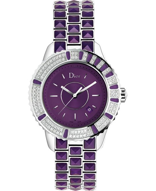 DIOR Christal Diamond Purple Dial Ladies Watch 33mm