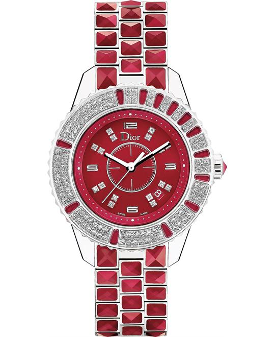 Dior Christal Red Diamond Dial Watch 33mm
