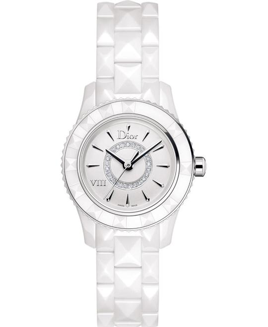 Dior VIII CD1221E2C001 Diamond White Ceramic Ladies 28mm