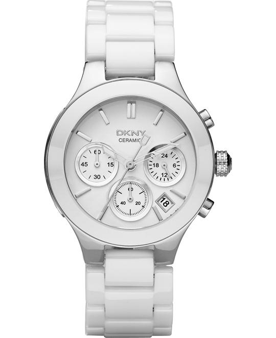 DKNY Chronograph White Ceramic Watch 38mm