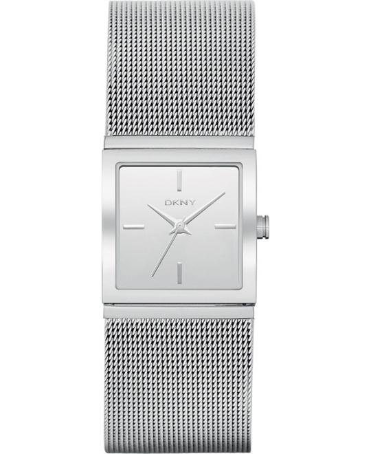 DKNY Silver Dial Square Shape Women's Mesh Watch 23mm