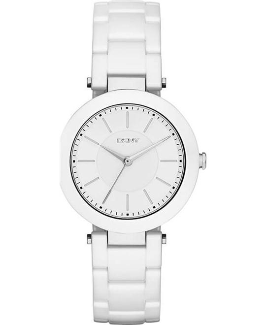 DKNY Stanhope White Dial White Ceramic Ladies Watch 36mm