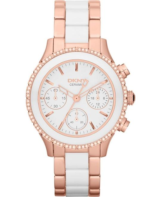 DKNY Watch, Women's Chronograph White Ceramic 38mm