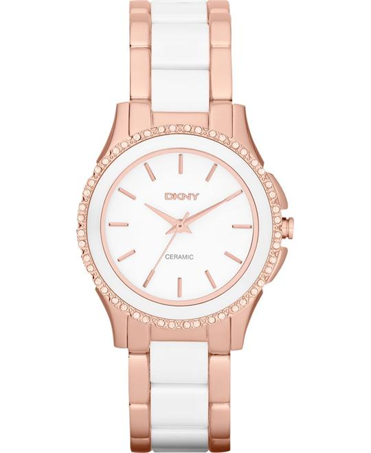 DKNY Watch, Women's Ceramic and Rose Gold, 32mm