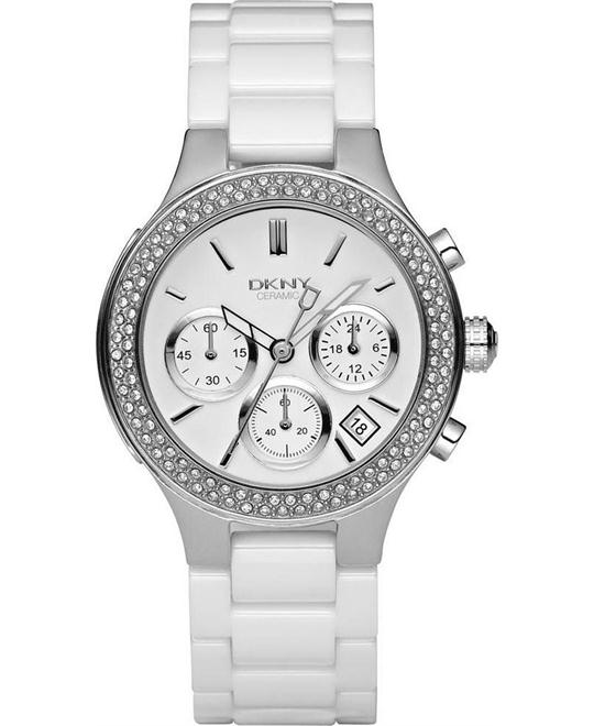 DKNY White Ceramic Chronograph Ladies Watch 45mm
