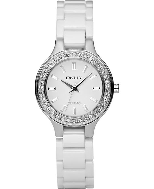 DKNY White Dial White Ceramic Ladies Watch 32mm